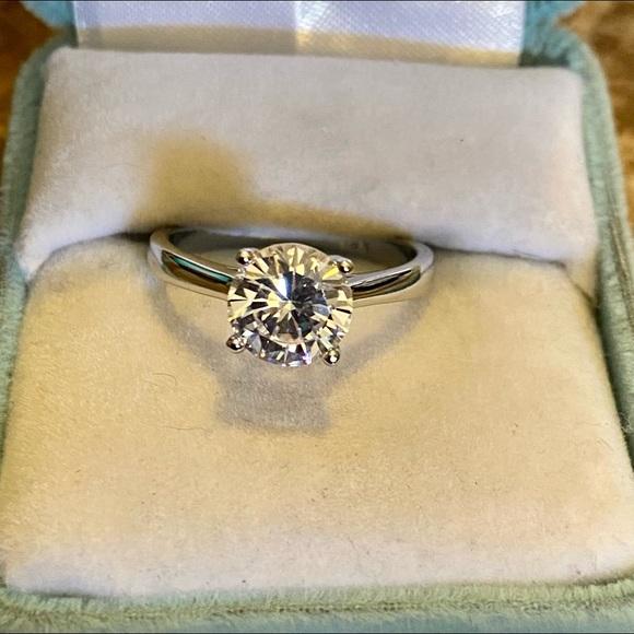 18K White Gold/White Sapphire Engagement Ring